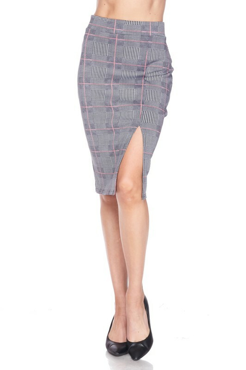 Front side of Silky Soft Scuba Coral Glen Plaid Plus Size Pencil Skirt with Front Slit  shown worn with black pumps