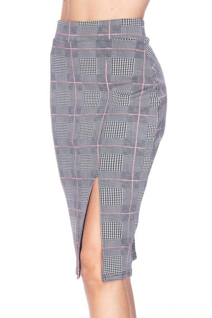 45 degree/left side of Silky Soft Scuba Coral Glen Plaid Plus Size Pencil Skirt with Front Slit