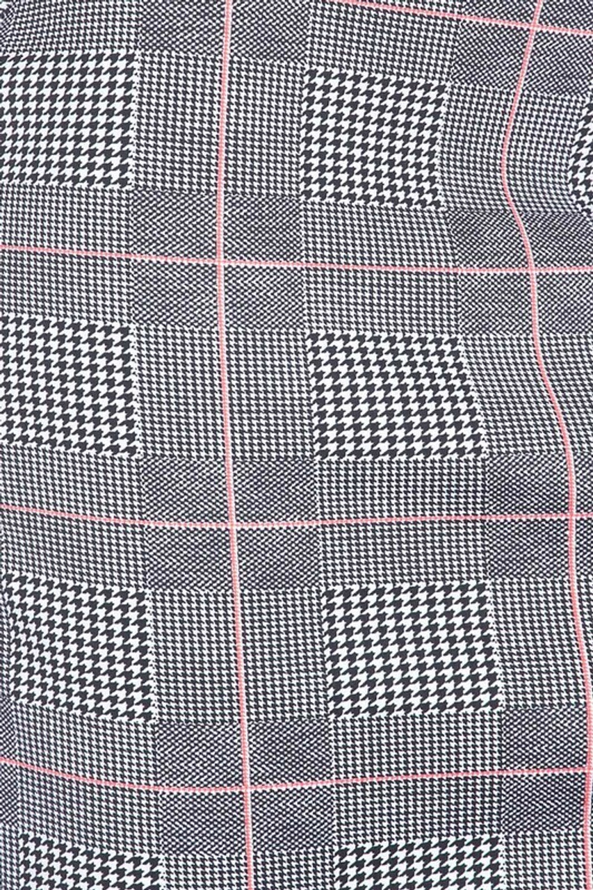 Close-up fabric image of Silky Soft Scuba Coral Glen Plaid Plus Size Pencil Skirt with Front Slit