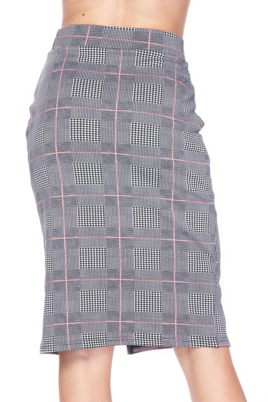 Back side image of Silky Soft Scuba Coral Glen Plaid Plus Size Pencil Skirt with Front Slit with a hem