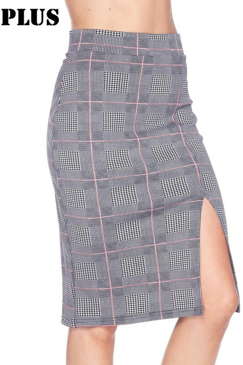 Right side image of Silky Soft Scuba Coral Glen Plaid Plus Size Pencil Skirt with Front Slit