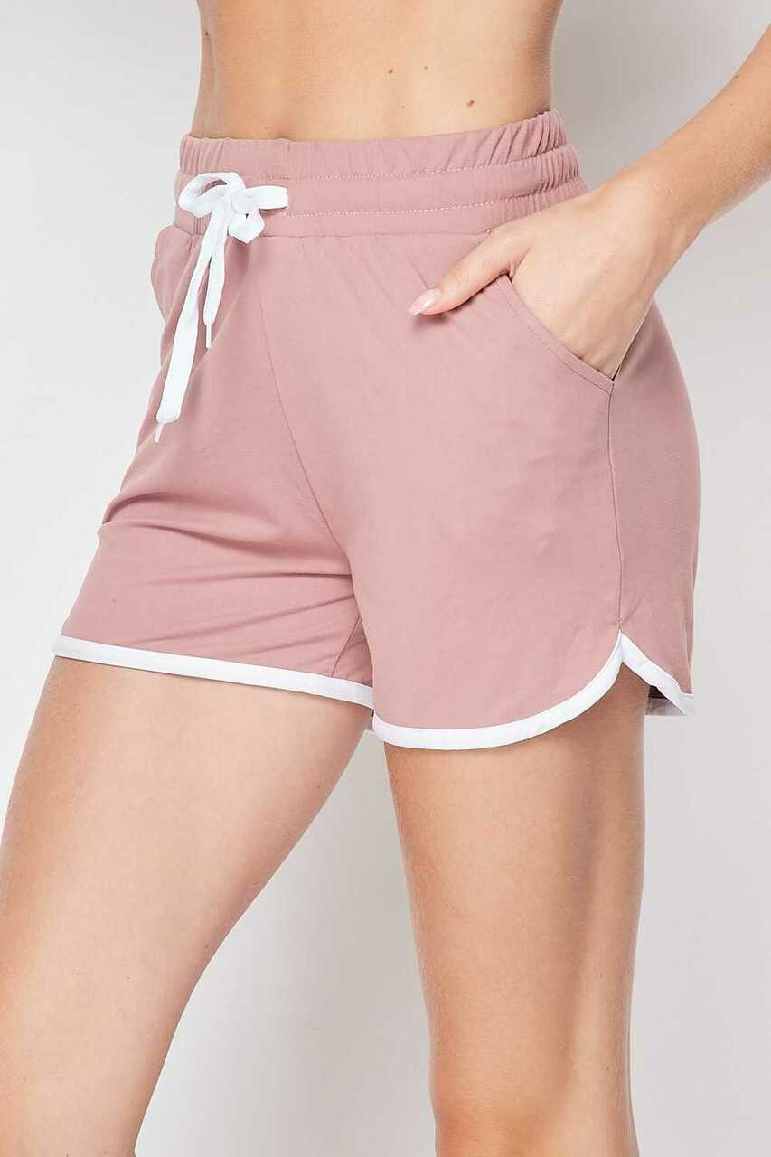 45 degree view of Mauve Buttery Soft Drawstring Waist Plus Size Dolphin Shorts with Pockets