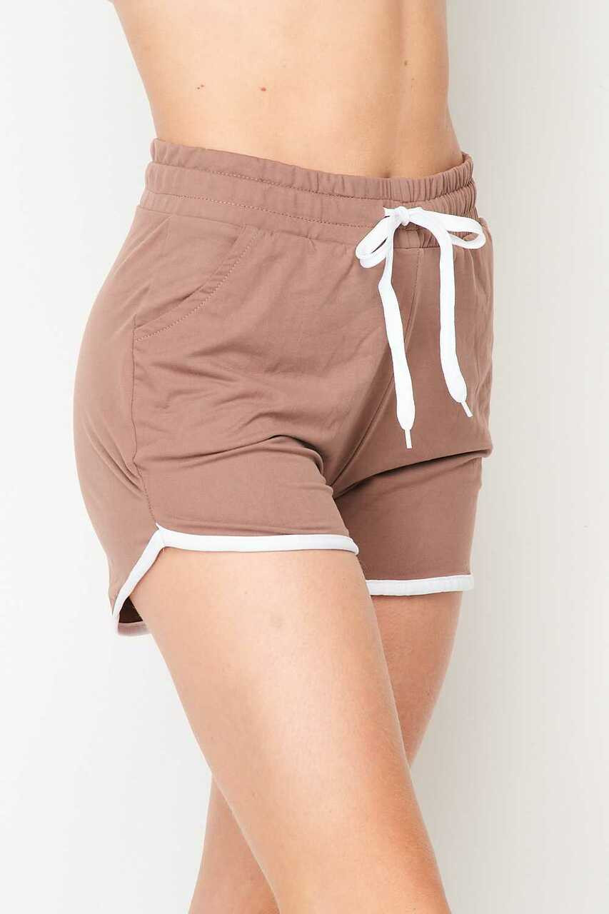Left side of Mocha Buttery Soft Drawstring Waist Plus Size Dolphin Shorts with Pockets