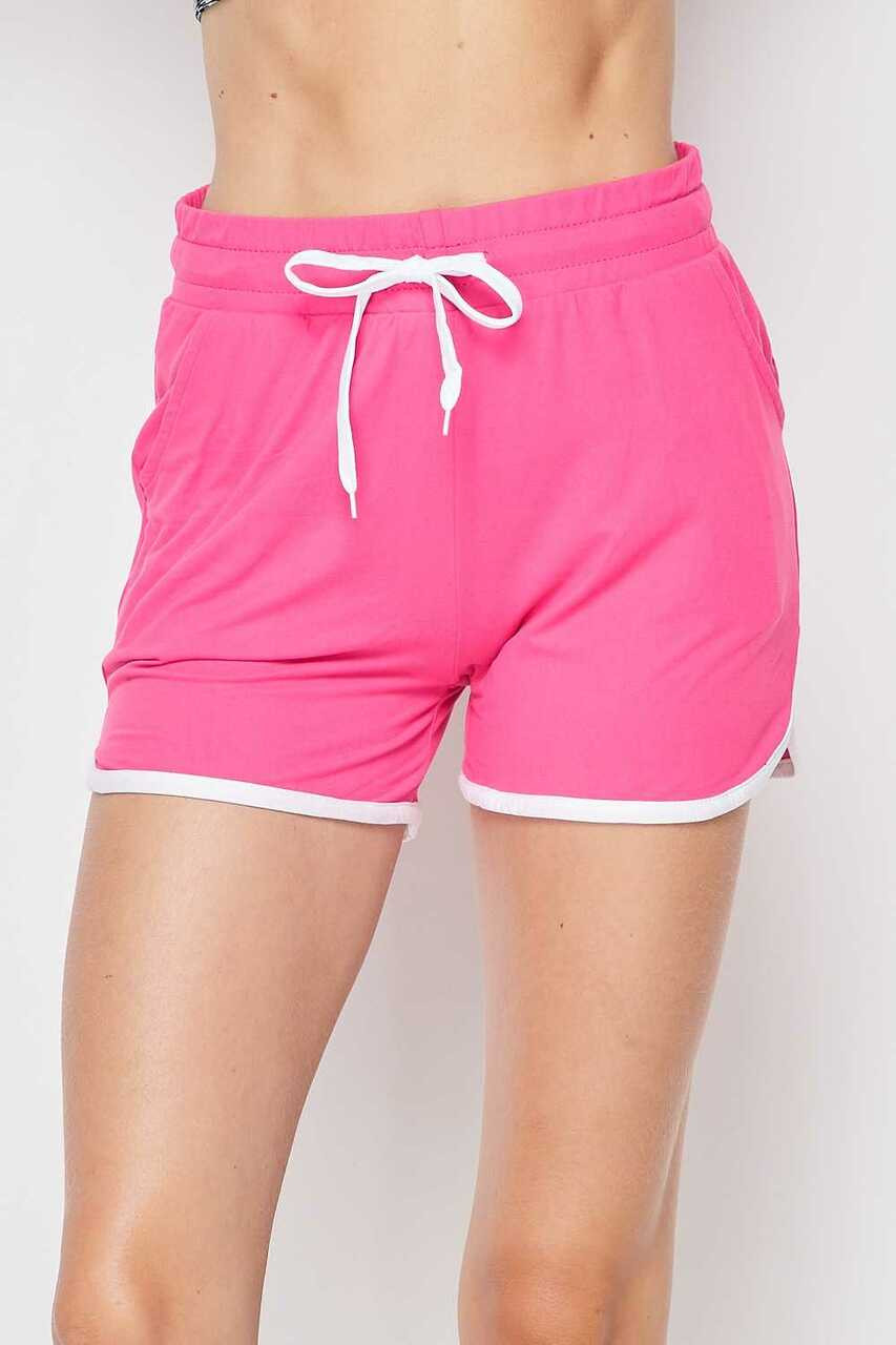 Front side of Pink Buttery Soft Drawstring Waist Plus Size Dolphin Shorts with Pockets