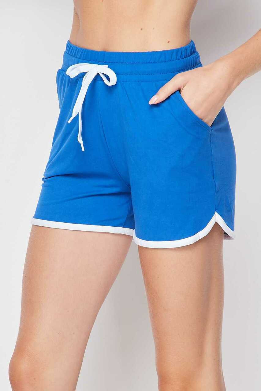 Left side of Blue Buttery Soft Drawstring Waist Plus Size Dolphin Shorts with Pockets