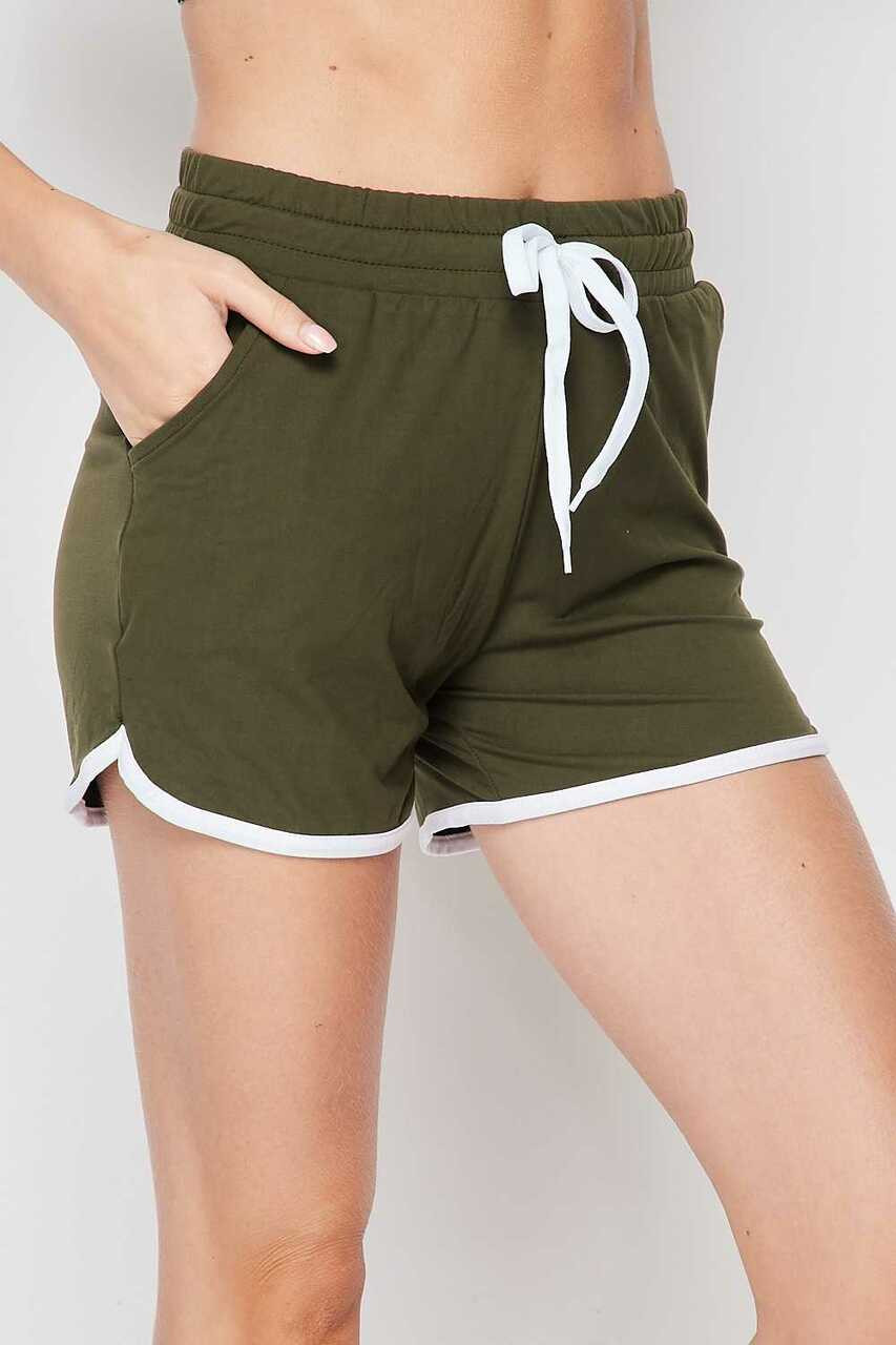 Left side of Olive Buttery Soft Drawstring Waist Plus Size Dolphin Shorts with Pockets