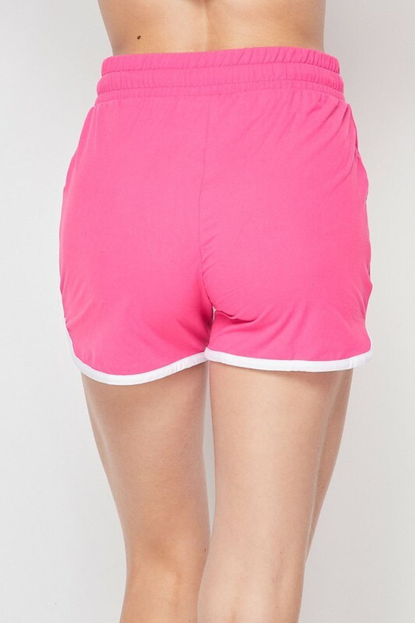 Back side of Pink Buttery Soft Drawstring Waist Plus Size Dolphin Shorts with Pockets