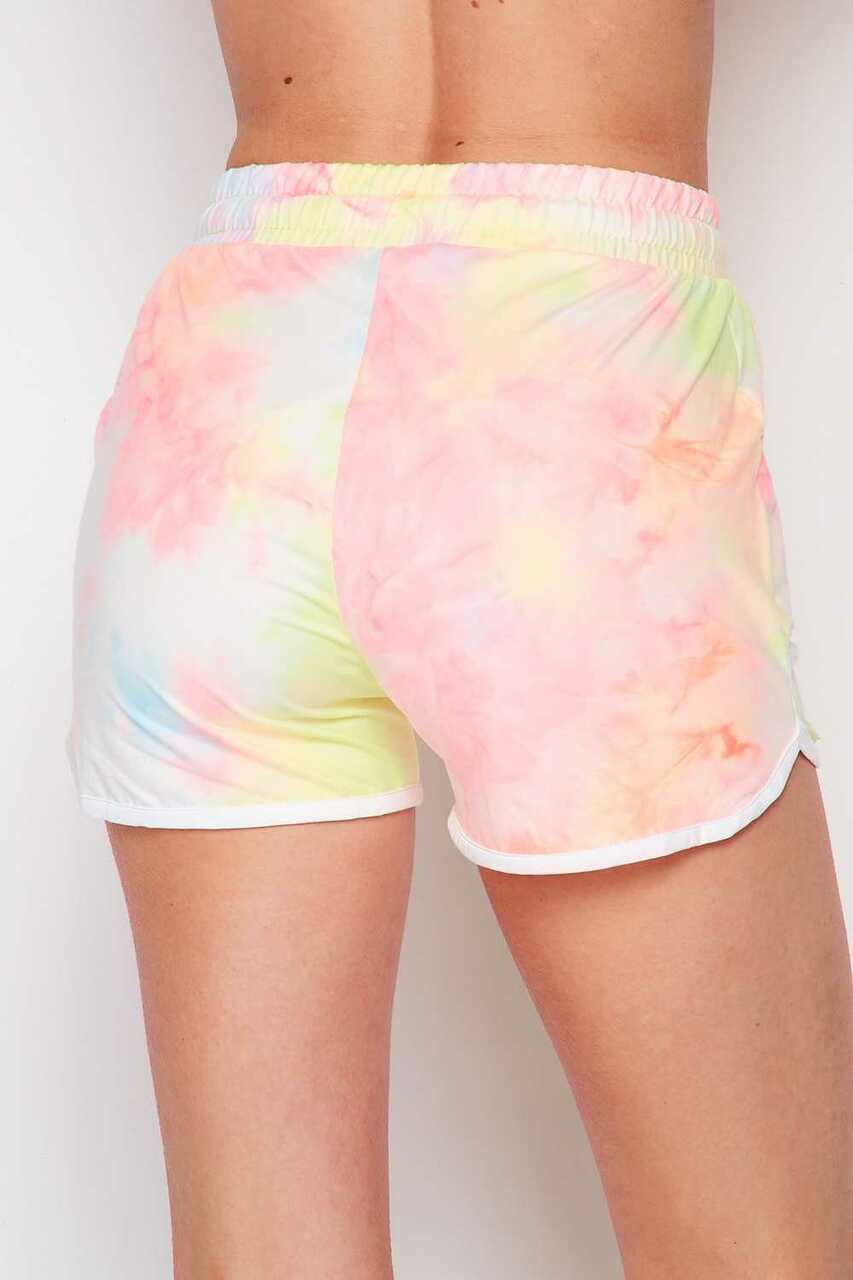 Back side image of Buttery Soft Pink and Yellow Tie Dye Drawstring Waist Dolphin Shorts with Pockets