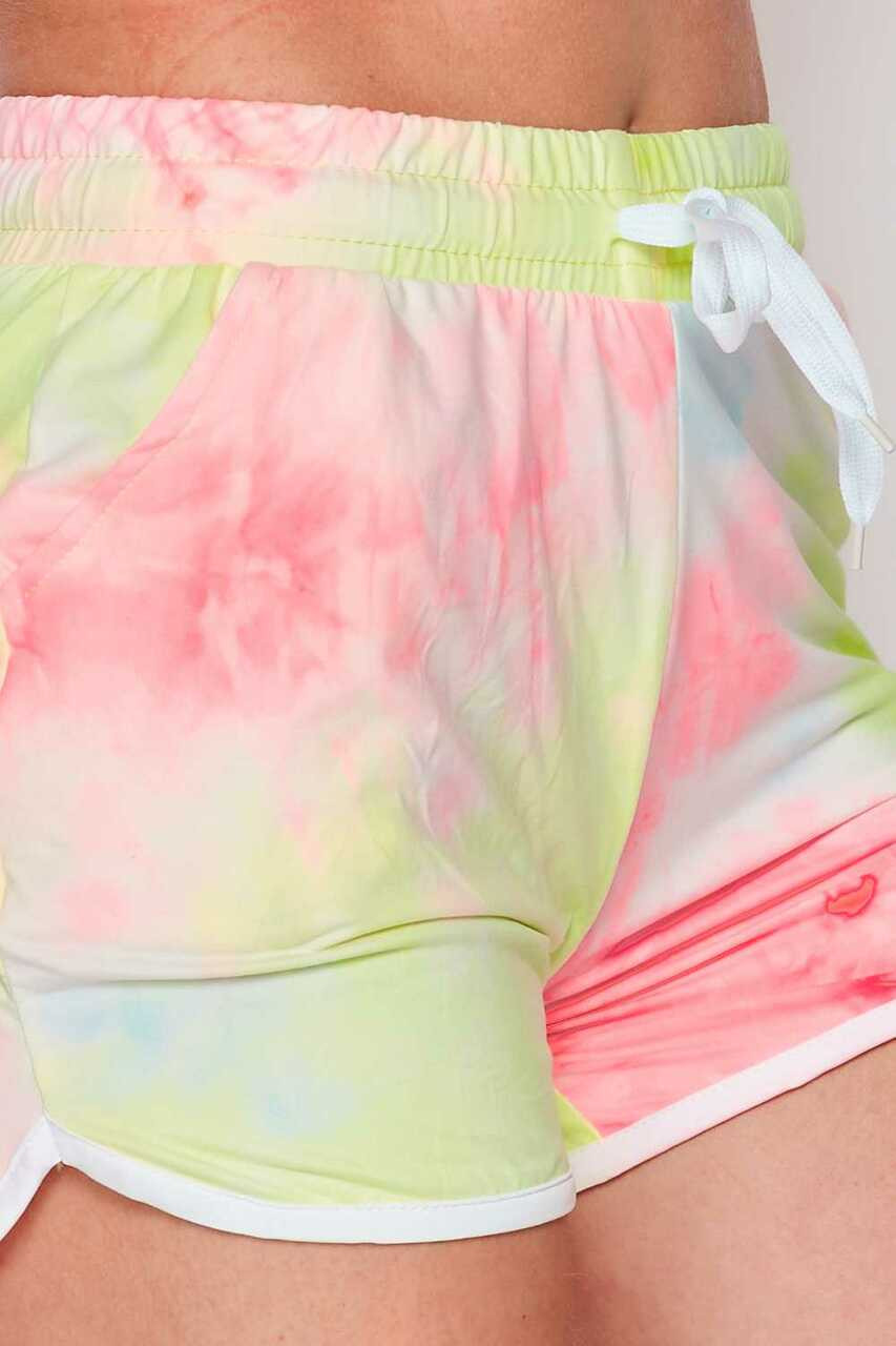 Close-up of Buttery Soft Pink and Yellow Tie Dye Drawstring Waist Dolphin Shorts with Pockets