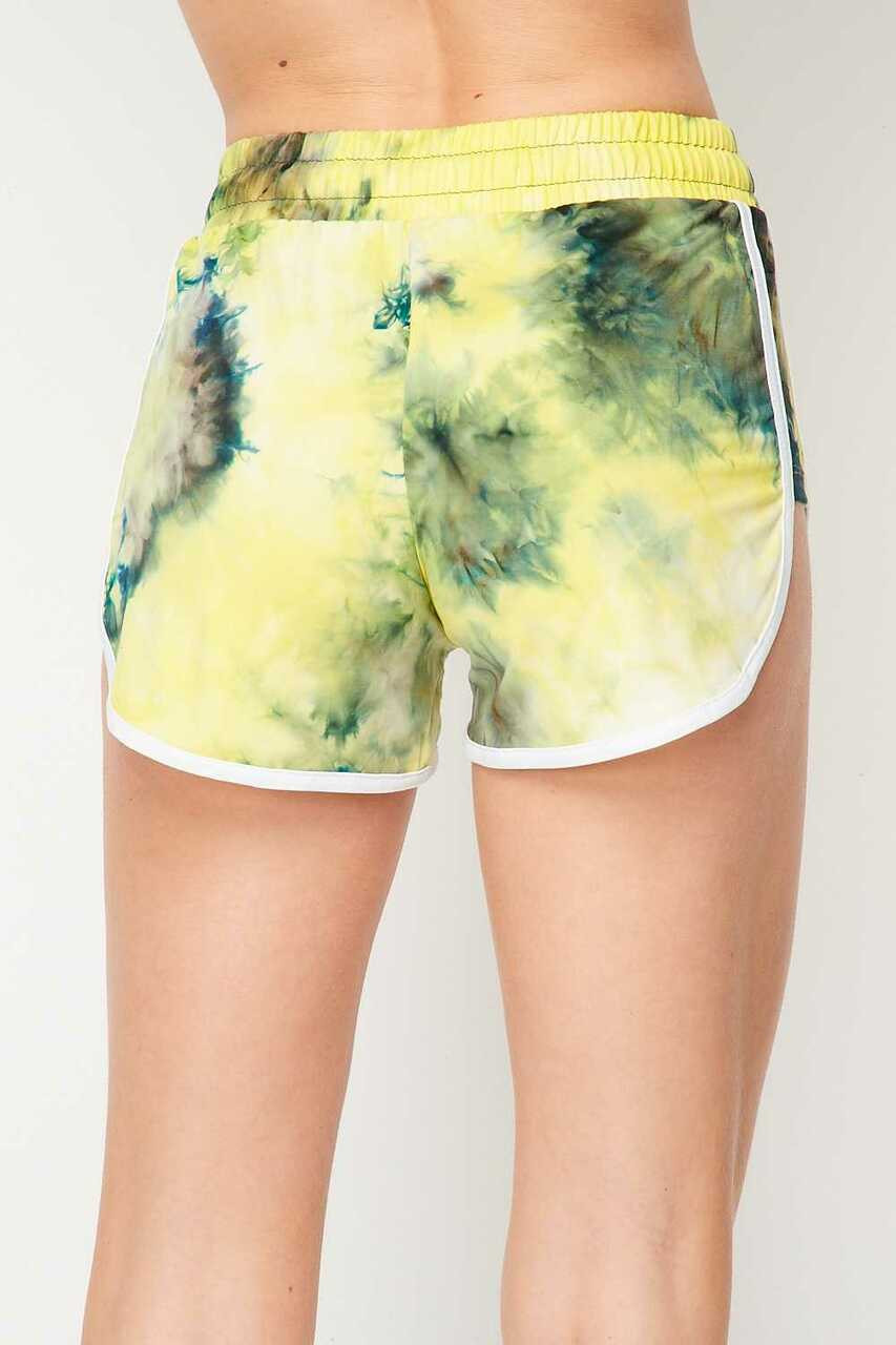 Back side image of Buttery Soft Yellow Tie Dye Side Striped Drawstring Waist Dolphin Shorts