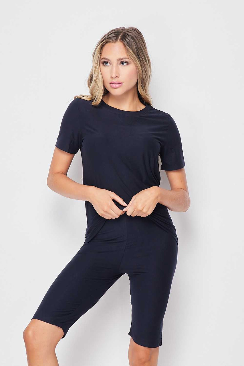 Frnt side of Navy Buttery Soft Basic Solid Biker Shorts and T-Shirt Set