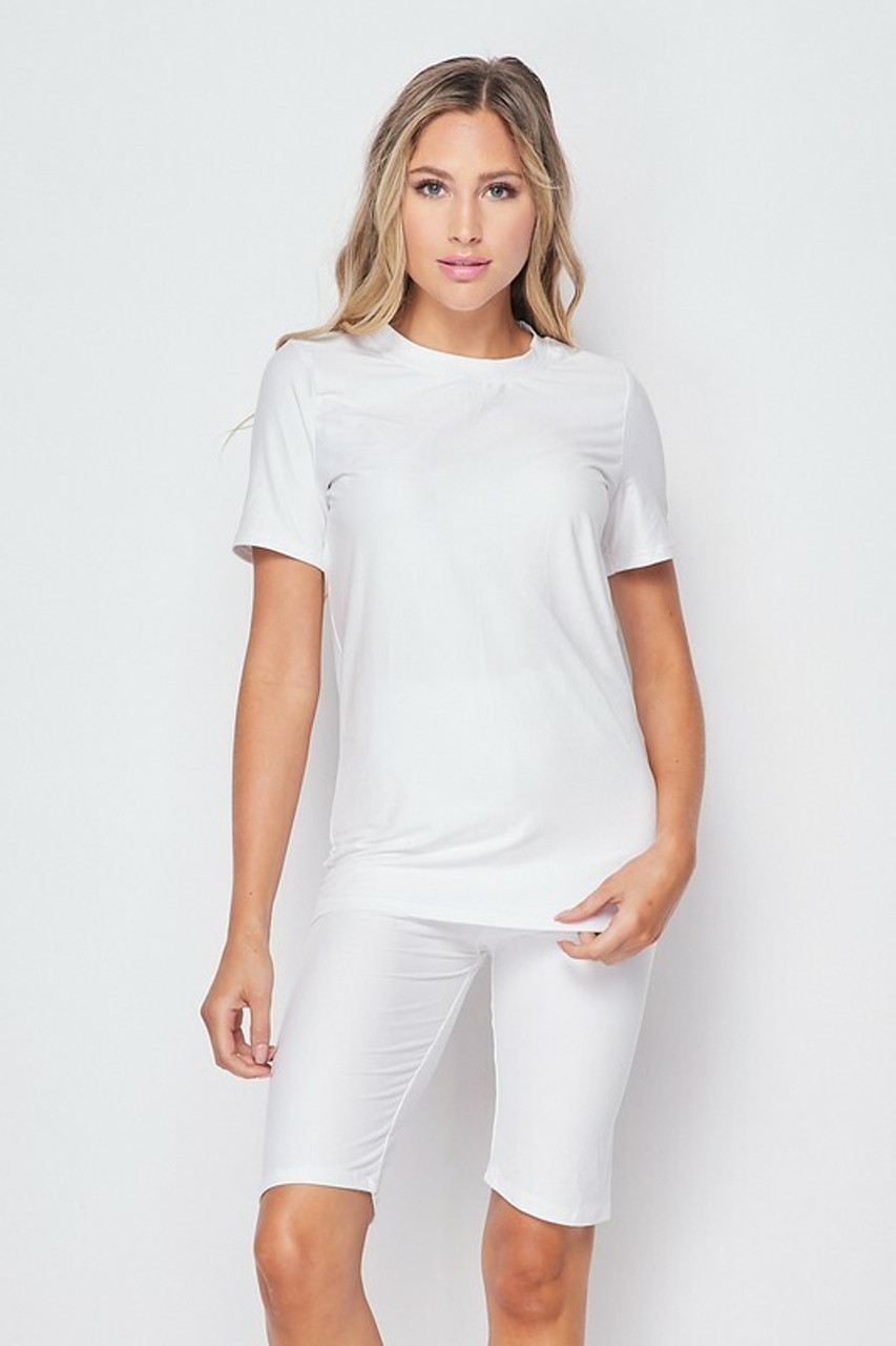 Front side of White Buttery Soft Basic Solid Biker Shorts and T-Shirt Set