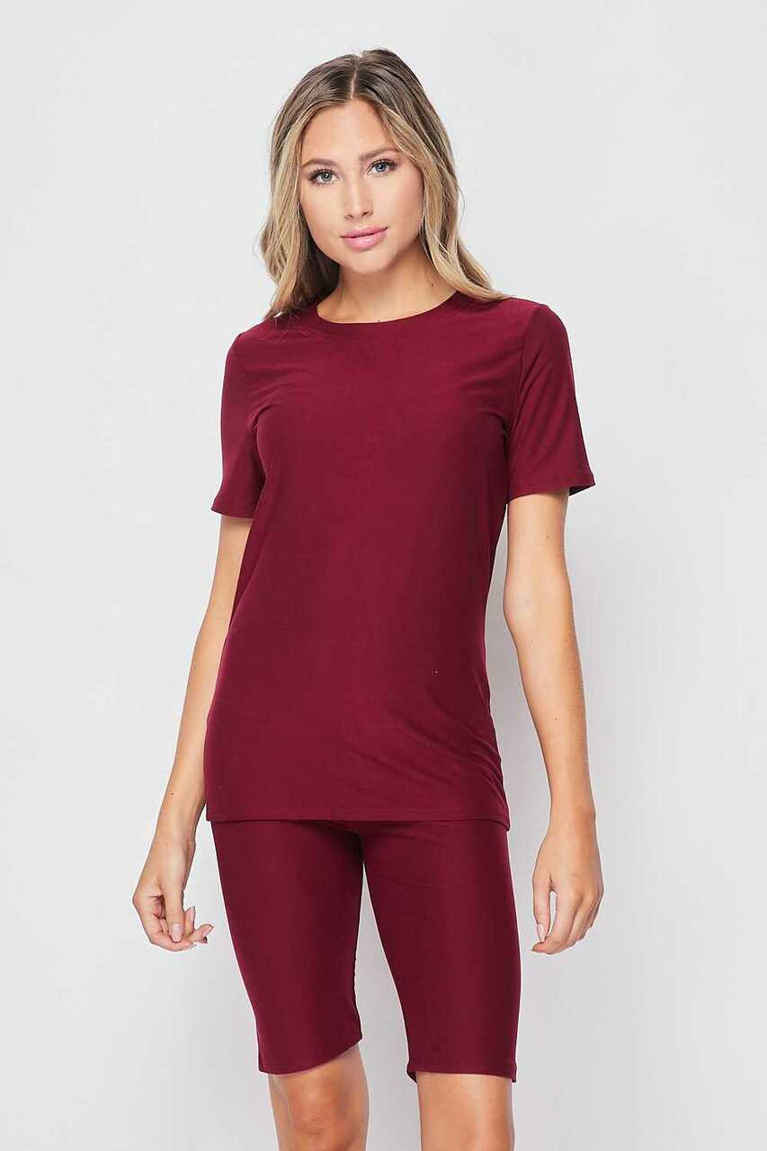 Front side of Burgundy Buttery Soft Basic Solid Biker Shorts and T-Shirt Set