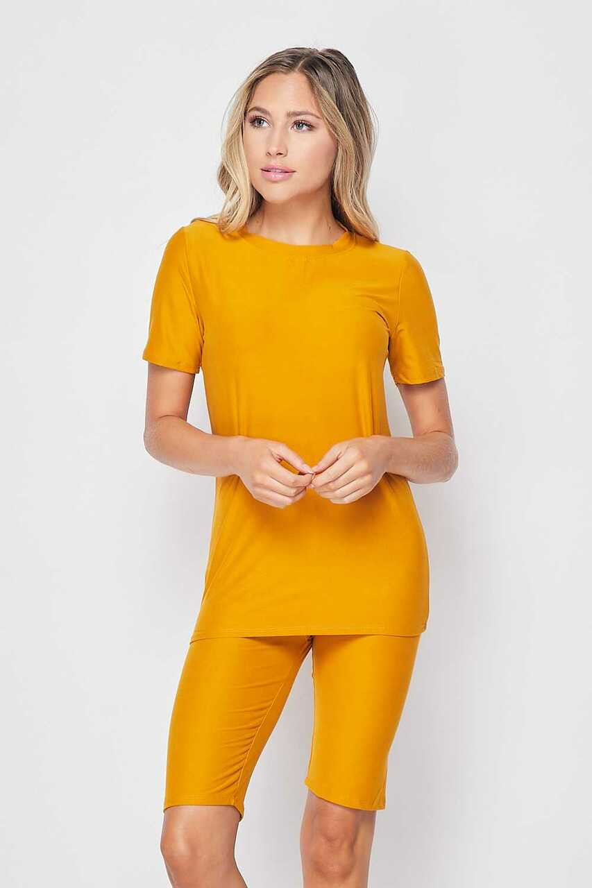 Front side of Mustard Buttery Soft Basic Solid Biker Shorts and T-Shirt Set