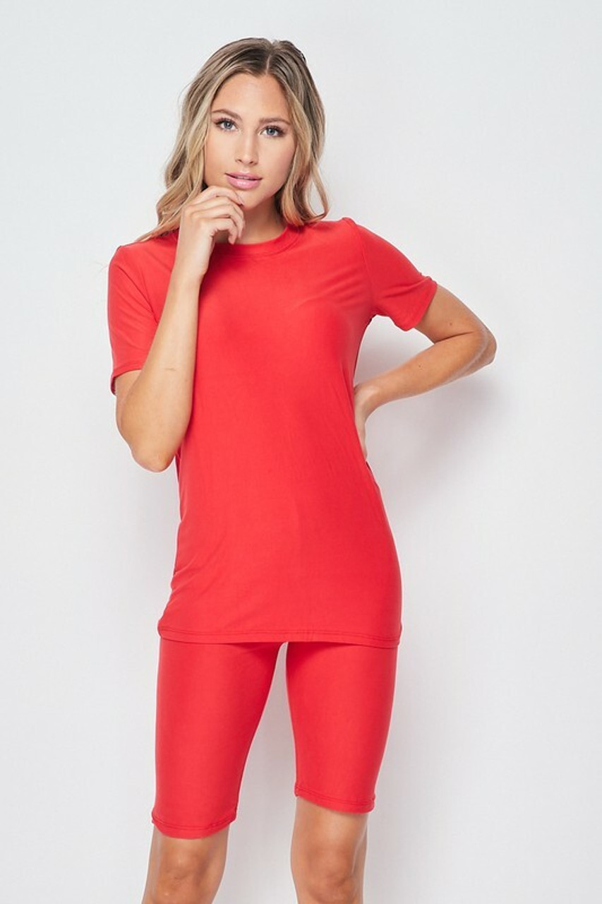 Front side of Red Buttery Soft Basic Solid Biker Shorts and T-Shirt Set