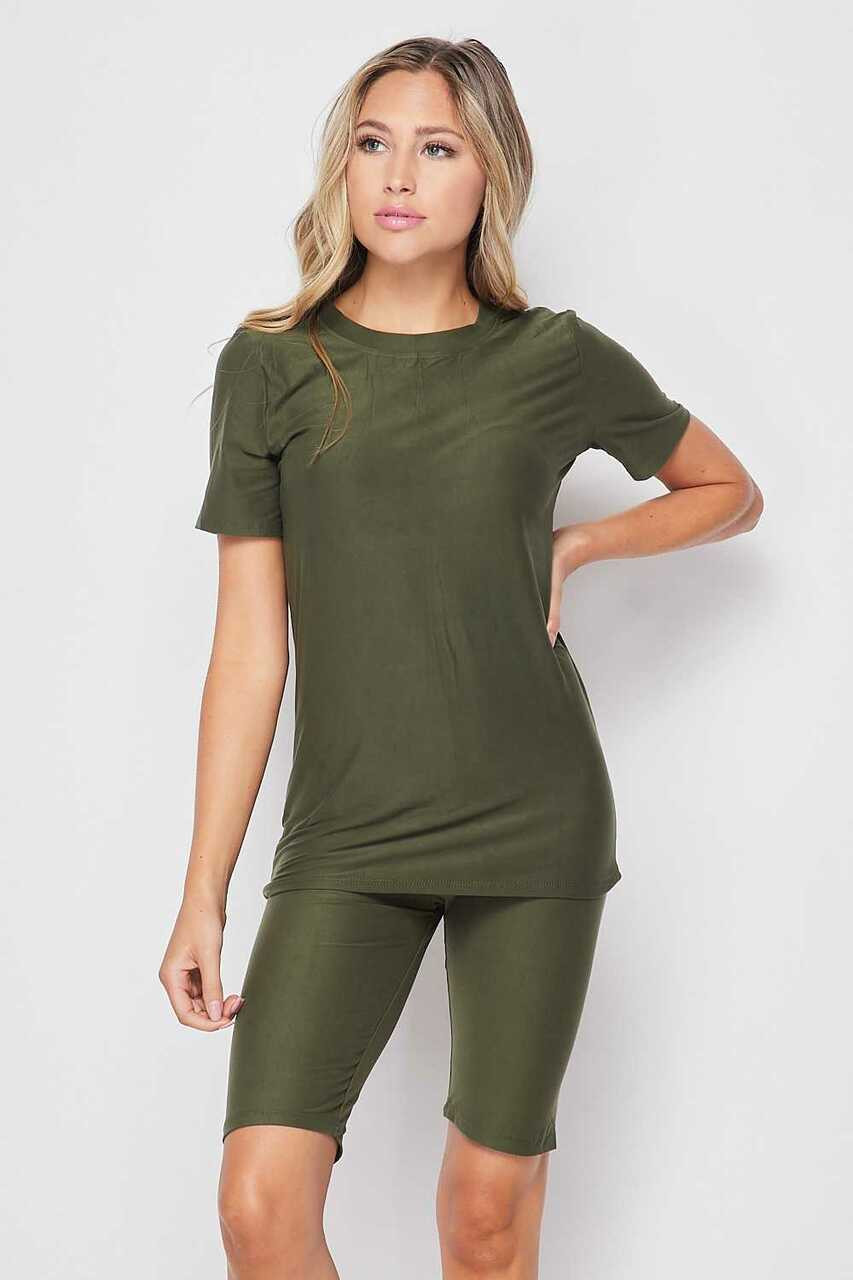 Front side of Olive Buttery Soft Basic Solid Biker Shorts and T-Shirt Set