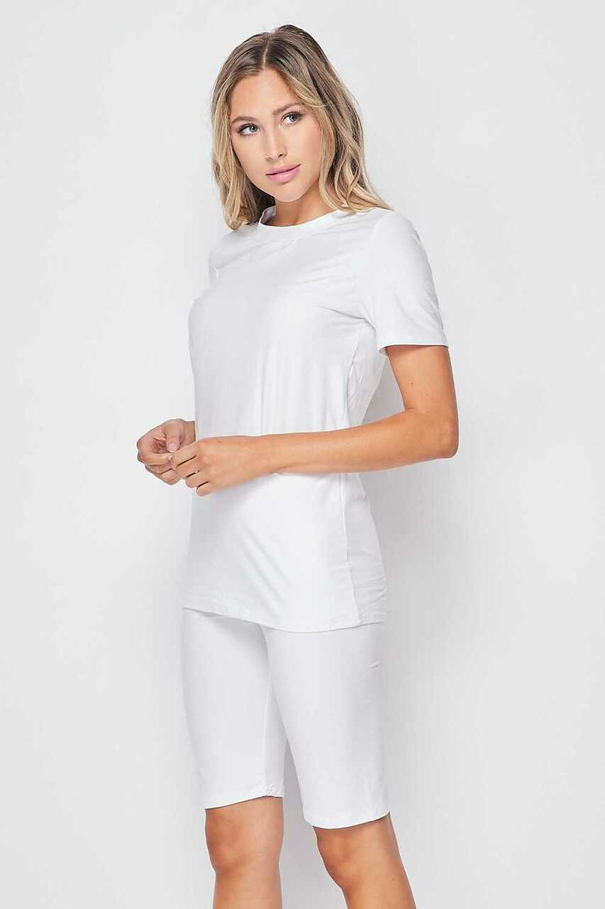 45 degree/left side of White Buttery Soft Basic Solid Biker Shorts and T-Shirt Set