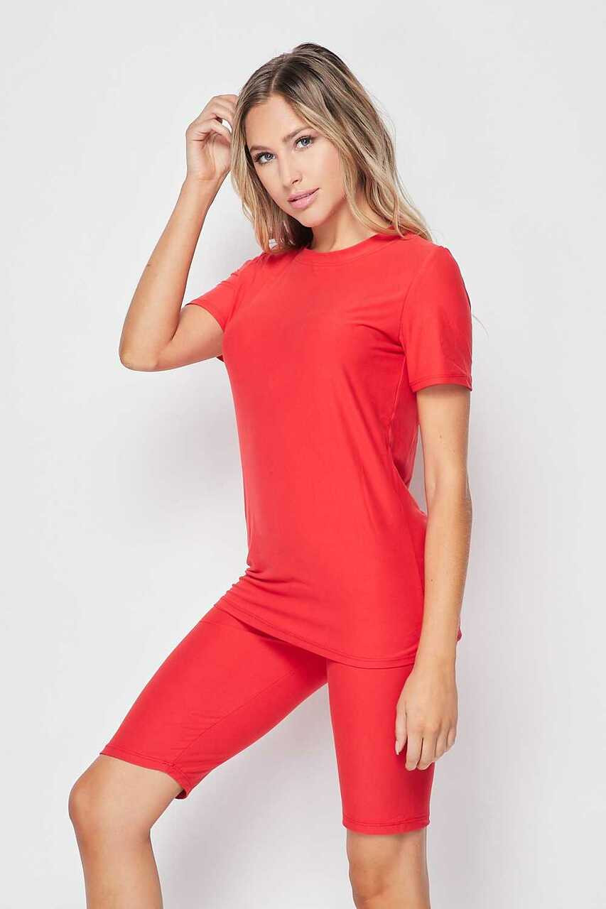 45 degree/left side of Red Buttery Soft Basic Solid Biker Shorts and T-Shirt Set