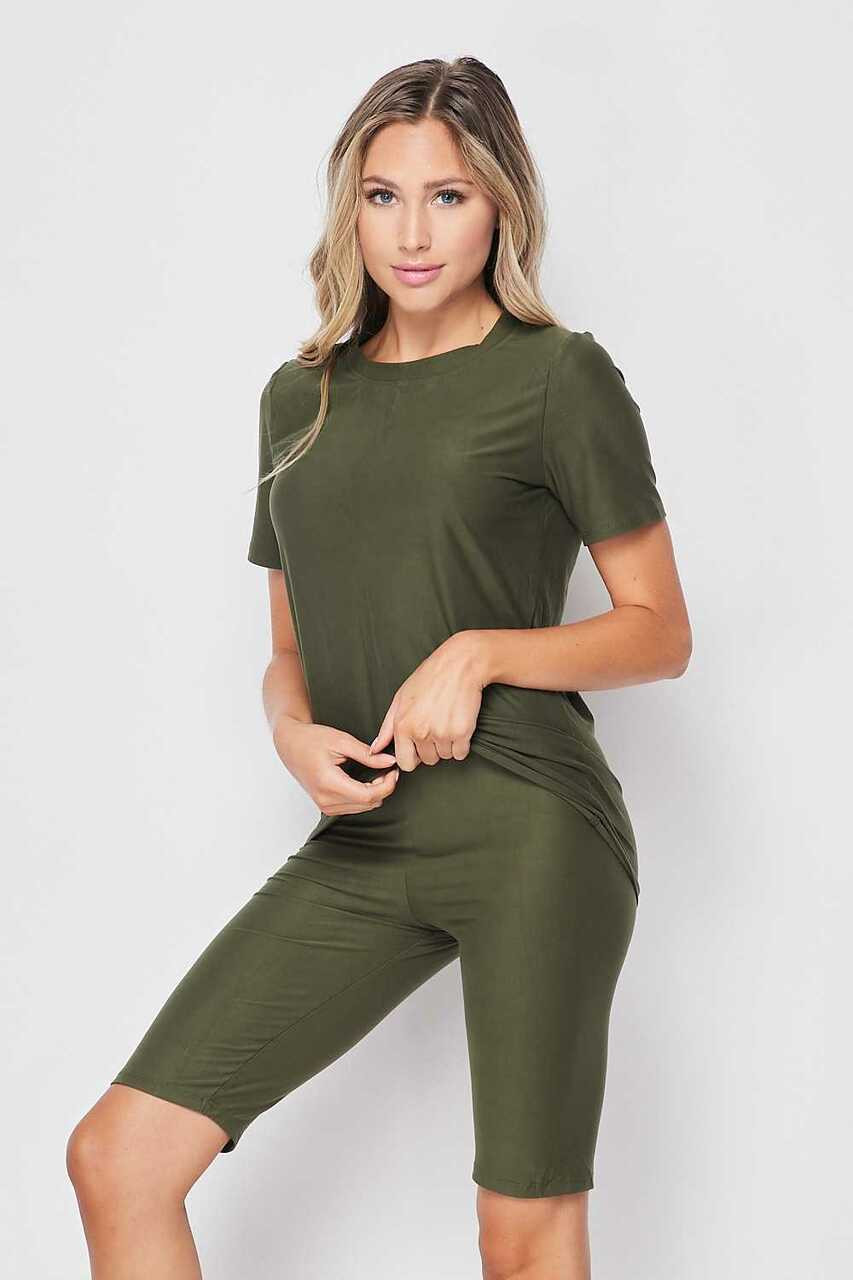 45 degree/left side of Olive Buttery Soft Basic Solid Biker Shorts and T-Shirt Set