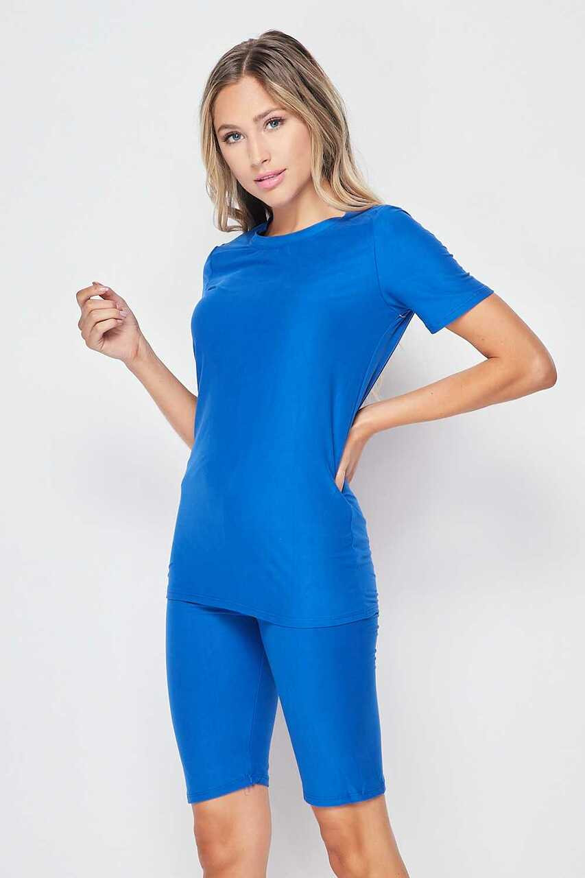 45 degree/left side of Blue Buttery Soft Basic Solid Biker Shorts and T-Shirt Set
