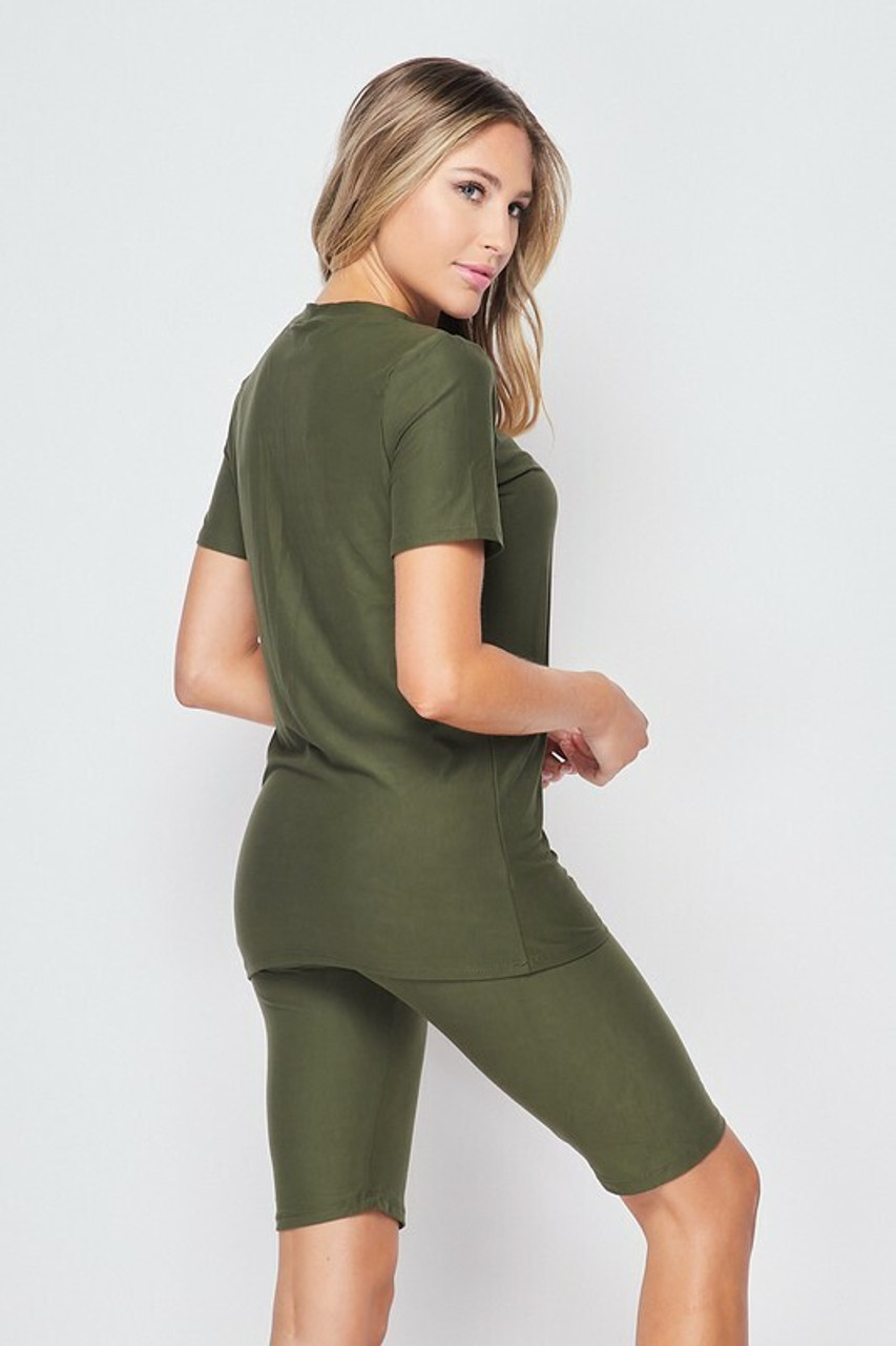 Back/right side of Olive Buttery Soft Basic Solid Biker Shorts and T-Shirt Set