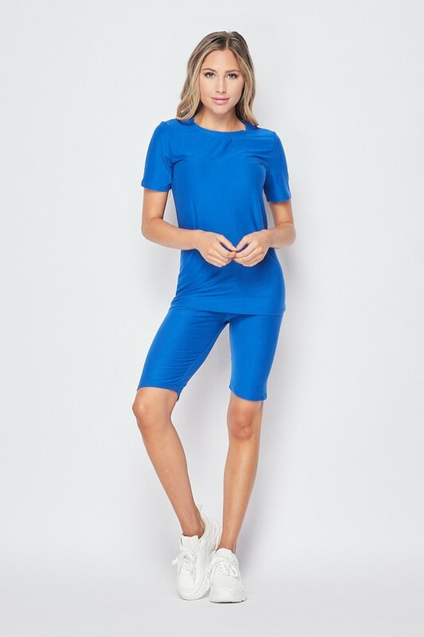 Front side of Blue Buttery Soft Basic Solid Biker Shorts and T-Shirt Set
