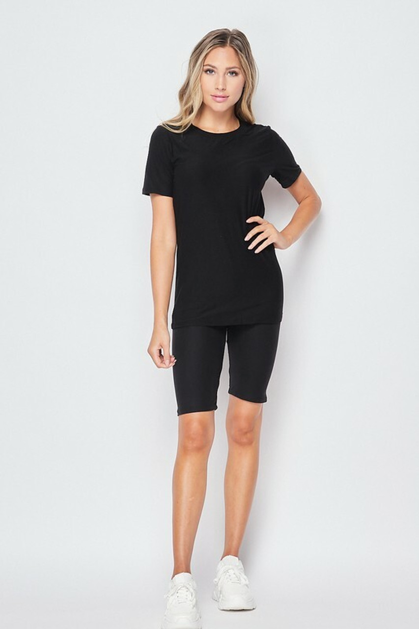 Front side of Black Buttery Soft Basic Solid Biker Shorts and T-Shirt Set