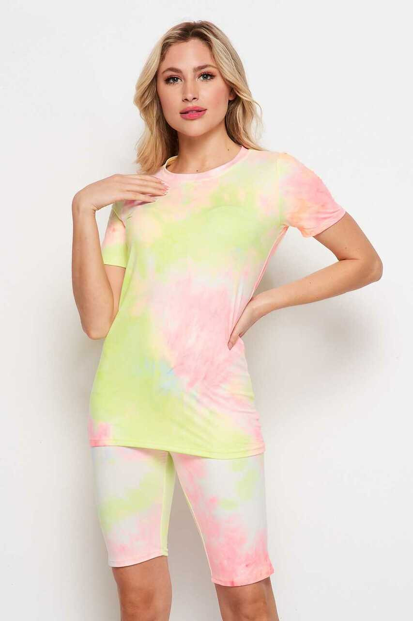 Front side of 2 Piece Buttery Soft Pink and Yellow Tie Dye Biker Shorts and T-Shirt Set