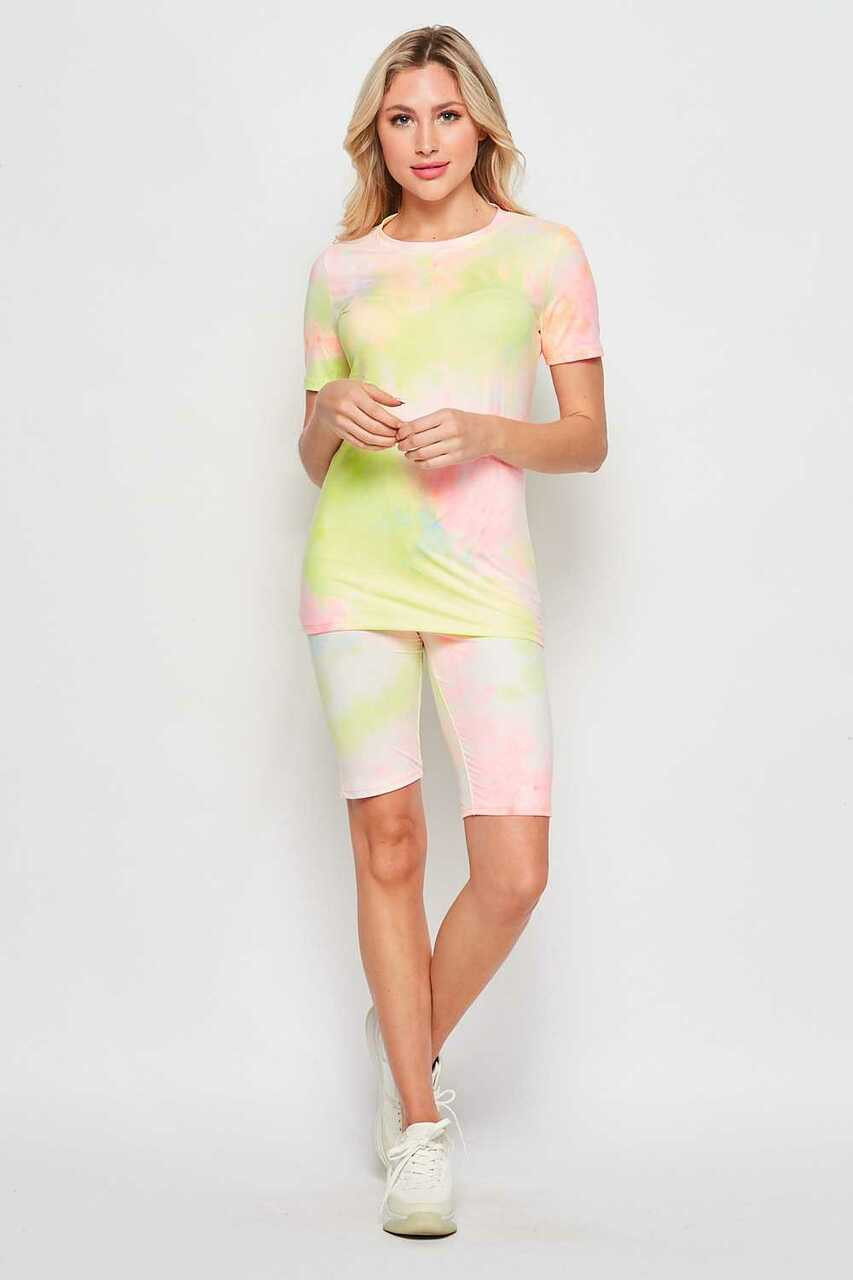 Full front side of 2 Piece Buttery Soft Pink and Yellow Tie Dye Biker Shorts and T-Shirt Set shown teamed with white sneakers