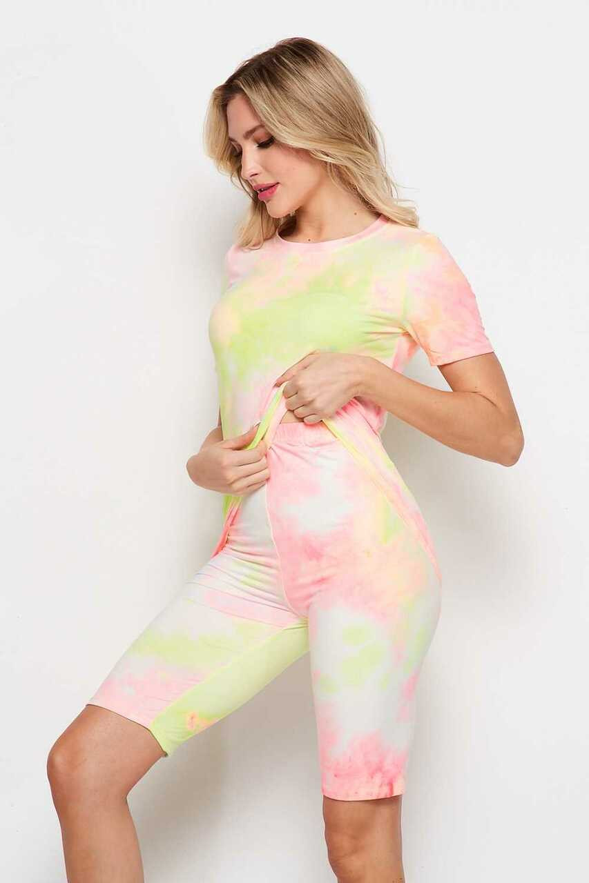 Lleft side of 2 Piece Buttery Soft Pink and Yellow Tie Dye Biker Shorts and T-Shirt Set