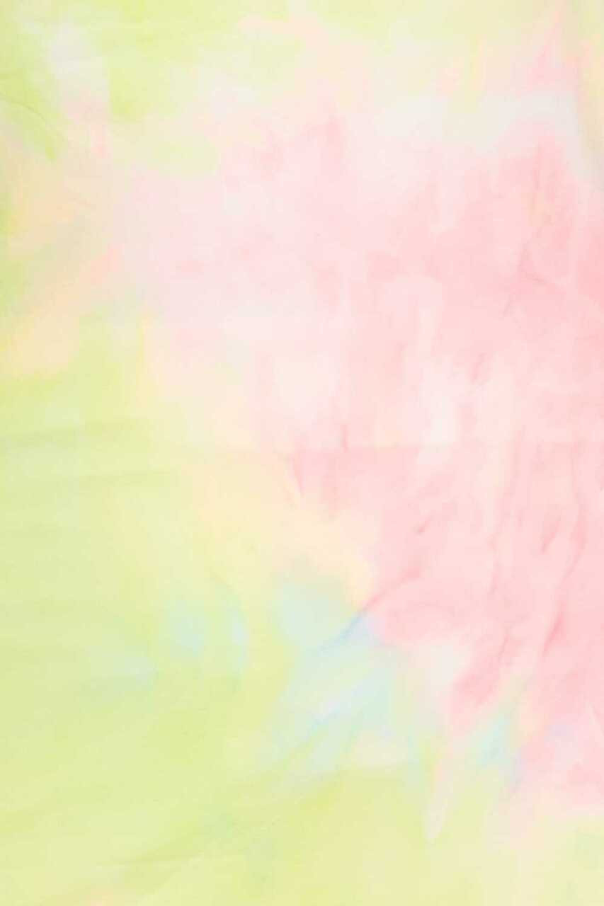 Close-up fabric image of 2 Piece Buttery Soft Pink and Yellow Tie Dye Biker Shorts and T-Shirt Set