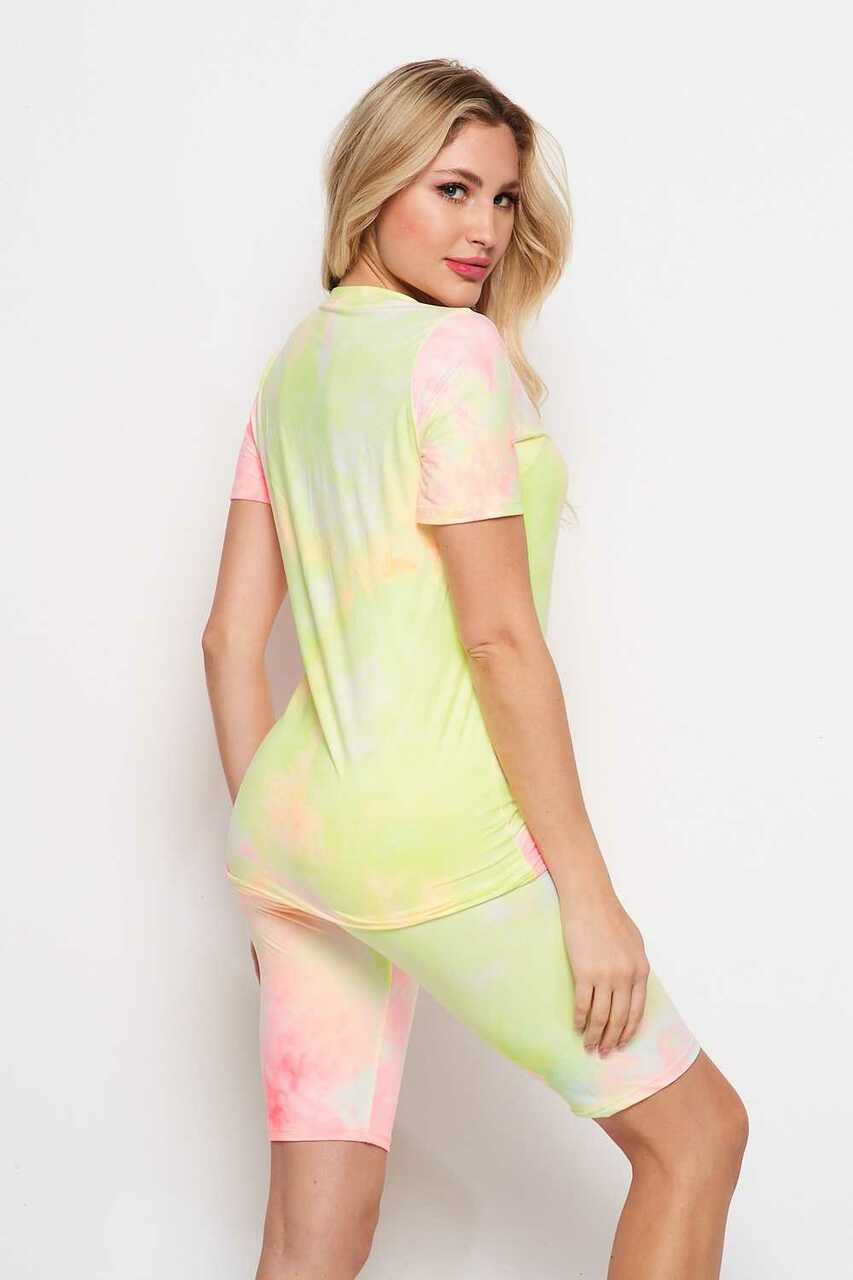 Back/right side of 2 Piece Buttery Soft Pink and Yellow Tie Dye Biker Shorts and T-Shirt Set