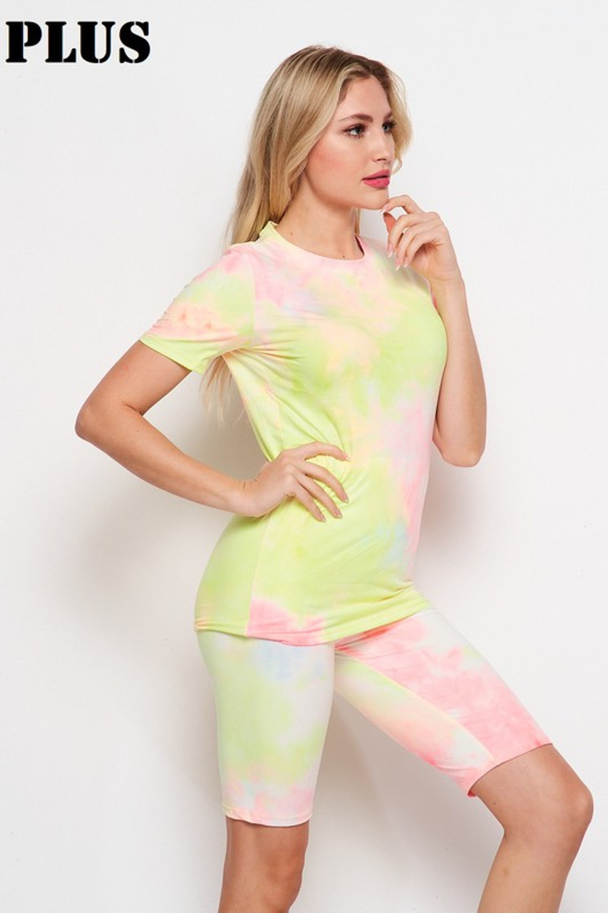 Right side of 2 Piece Buttery Soft Pink and Yellow Tie Dye Biker Shorts and T-Shirt Set - Plus Size