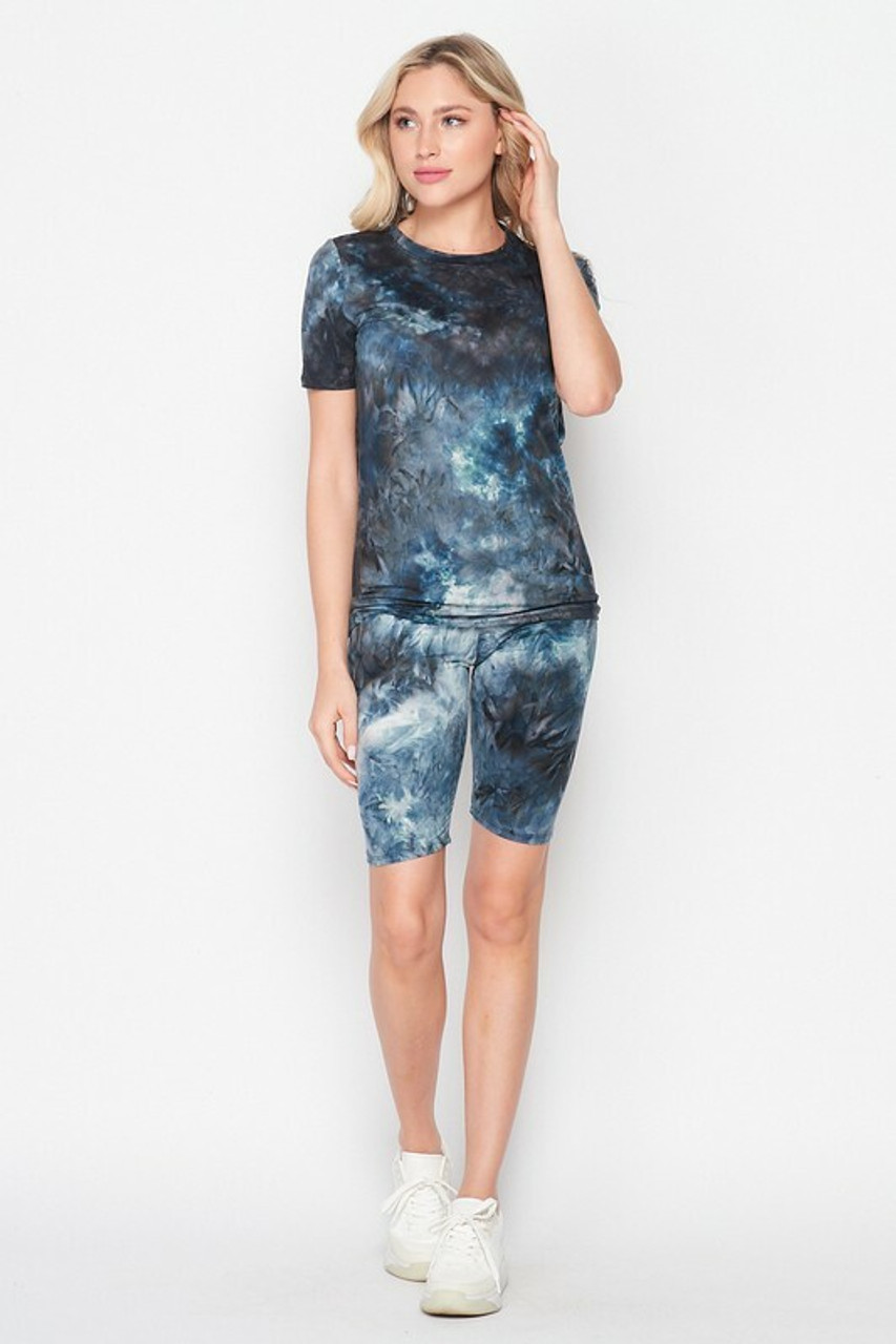Full front side image of 2 Piece Buttery Soft Navy Tie Dye Biker Shorts and T-Shirt Set - Plus Size shown teamed with white sneakers