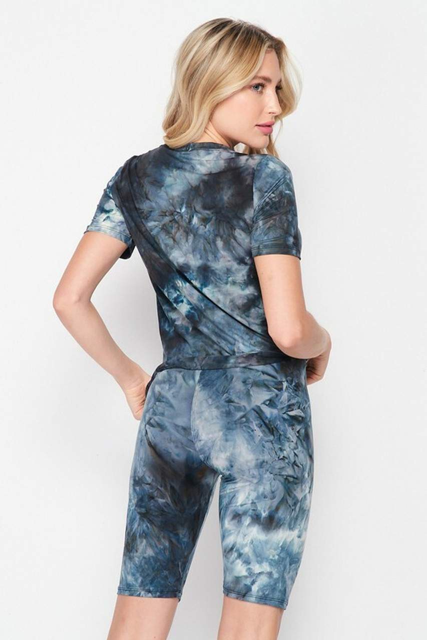 Back side image of 2 Piece Buttery Soft Navy Tie Dye Biker Shorts and T-Shirt Set - Plus Size