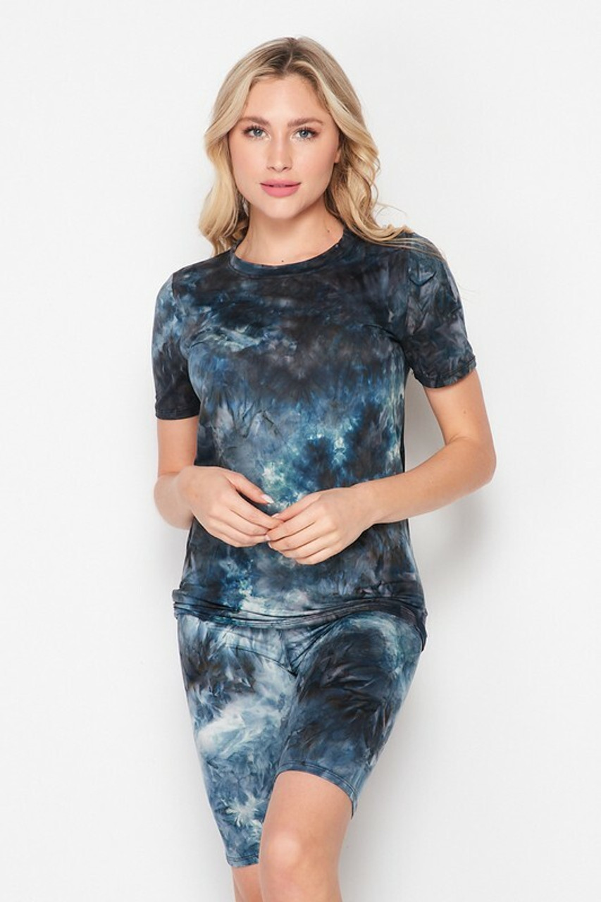 Front side image of 2 Piece Buttery Soft Navy Tie Dye Biker Shorts and T-Shirt Set - Plus Size