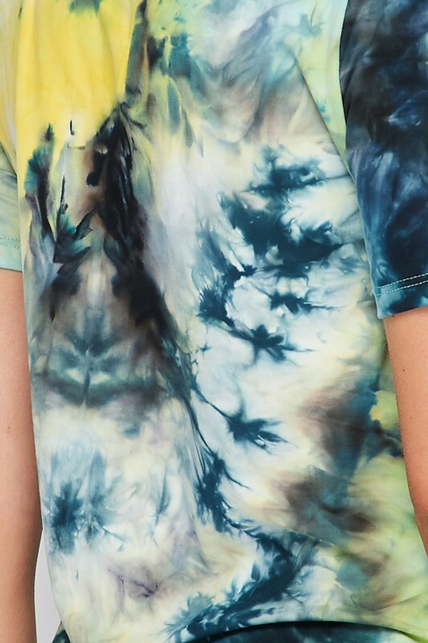 Close-up fabric swatch image for 2 Piece Buttery Soft Blue Tie Dye Biker Shorts and T-Shirt Set - Plus Size