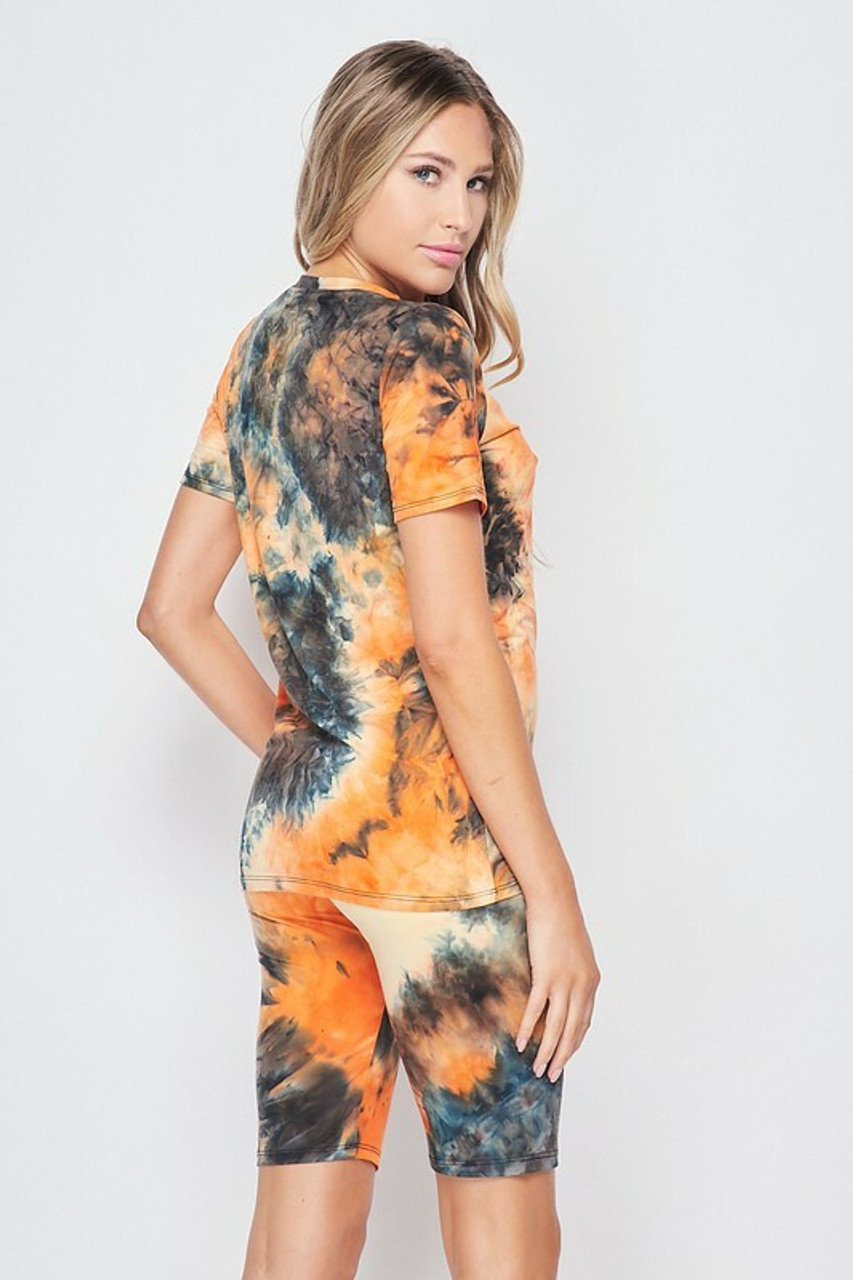 Back side image of 2 Piece Buttery Soft Orange Tie Dye Biker Shorts and T-Shirt Set - Plus Size