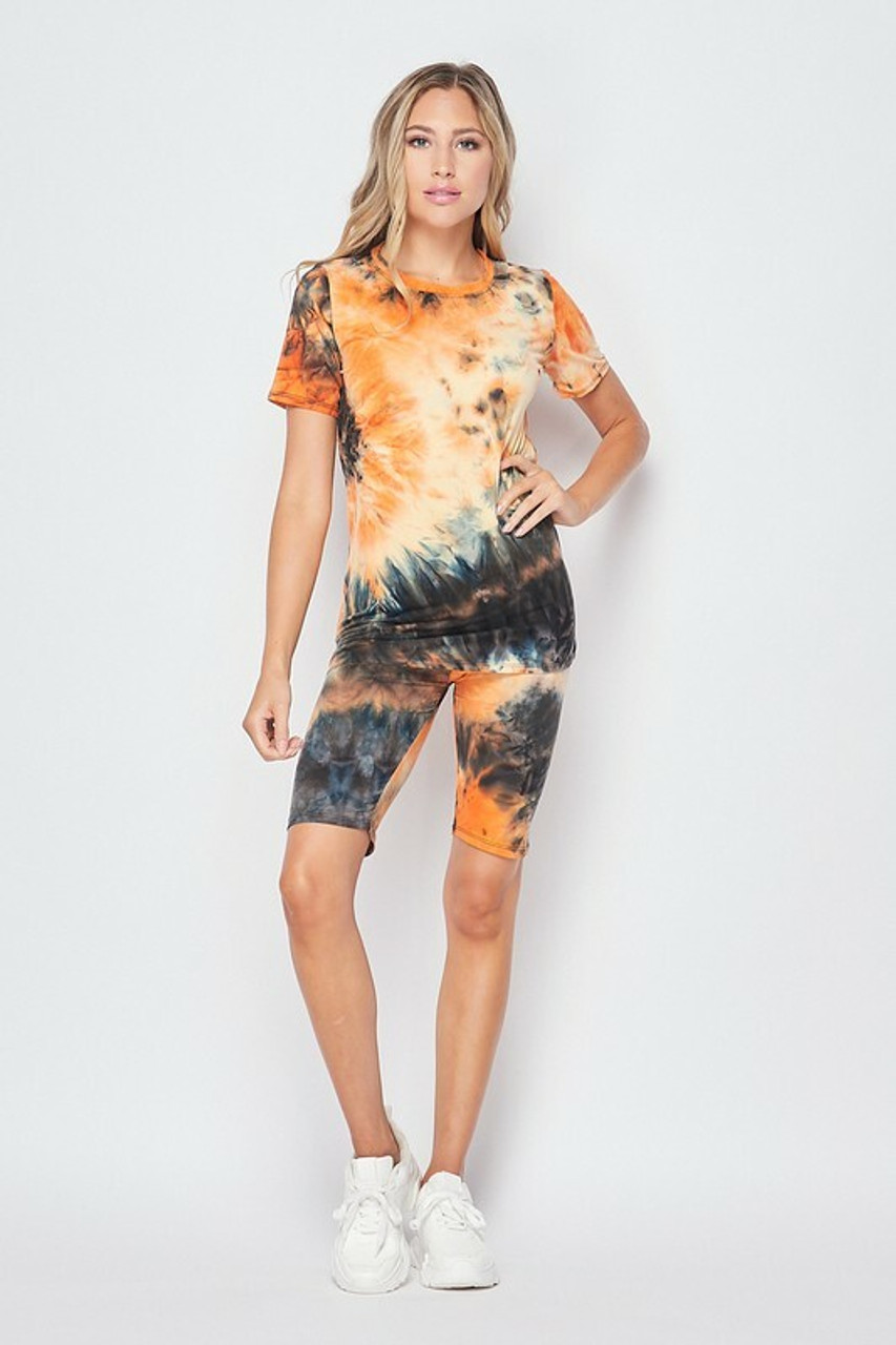 Front side image of 2 Piece Buttery Soft Orange Tie Dye Biker Shorts and T-Shirt Set - Plus Size