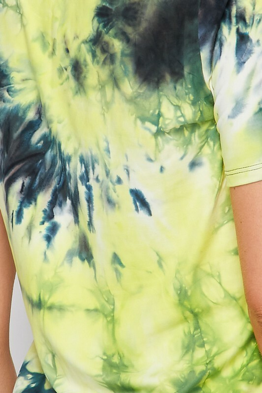 Close-up fabric swatch for 2 Piece Buttery Soft Yellow Tie Dye Biker Shorts and T-Shirt Set - Plus Size