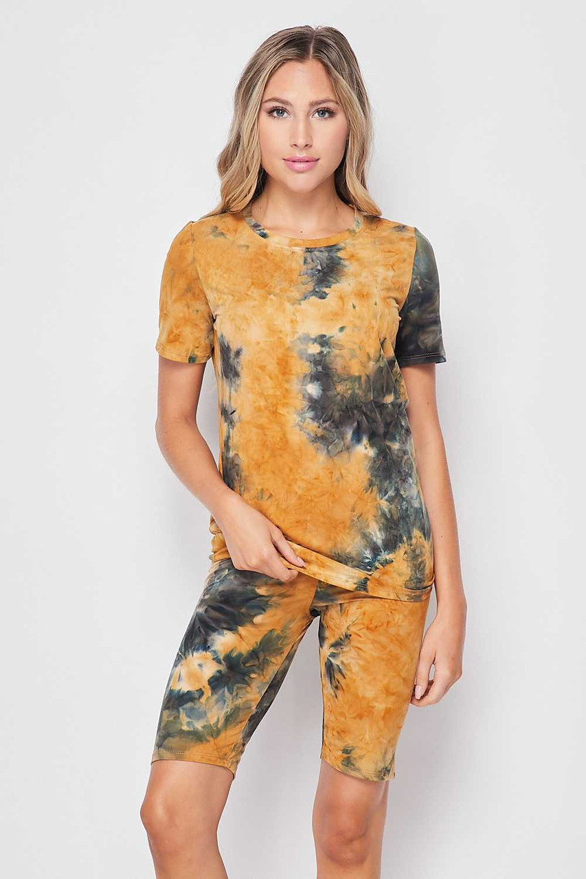 Front side of 2 Piece Buttery Soft Camel Tie Dye Biker Shorts and T-Shirt Set - Plus Size