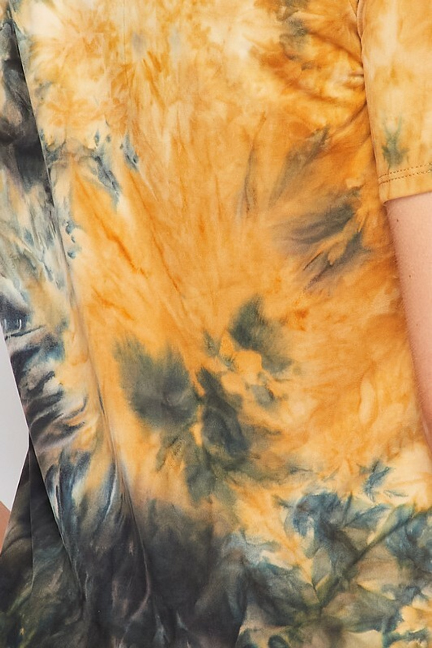 Close-up fabric swatch of 2 Piece Buttery Soft Camel Tie Dye Biker Shorts and T-Shirt Set - Plus Size