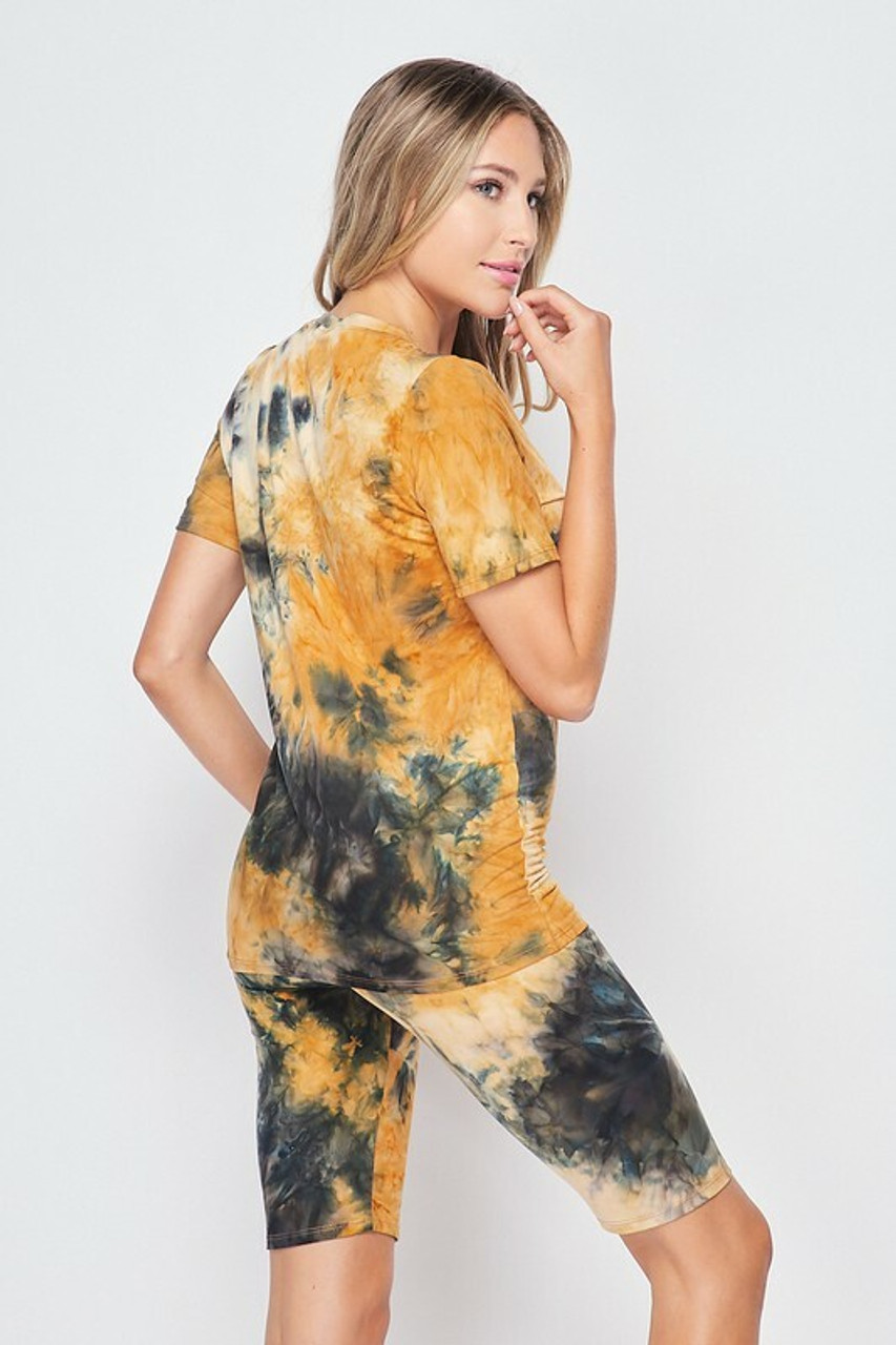 Back side image of 2 Piece Buttery Soft Camel Tie Dye Biker Shorts and T-Shirt Set - Plus Size