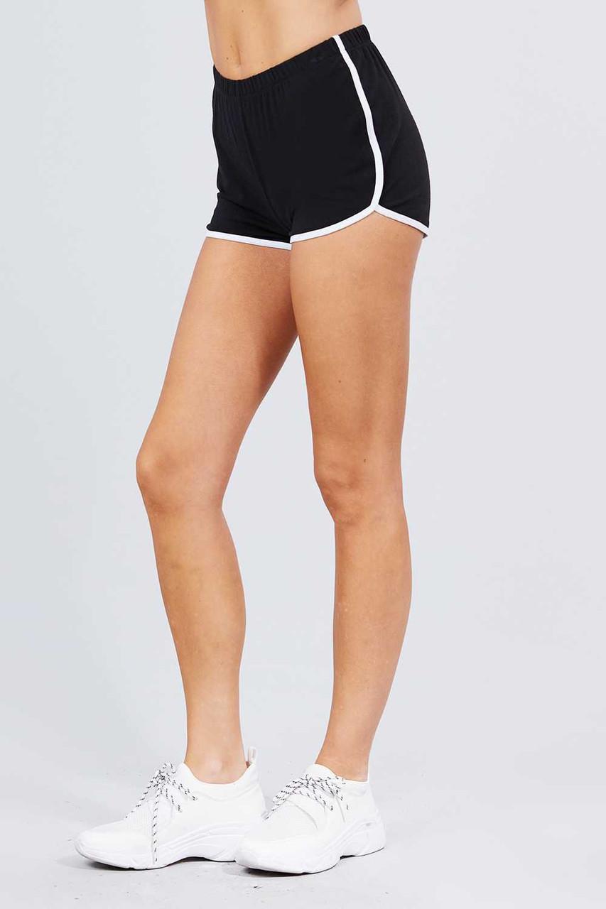 Left side of Black Basic Cotton Side Stripe Dolphin Shorts