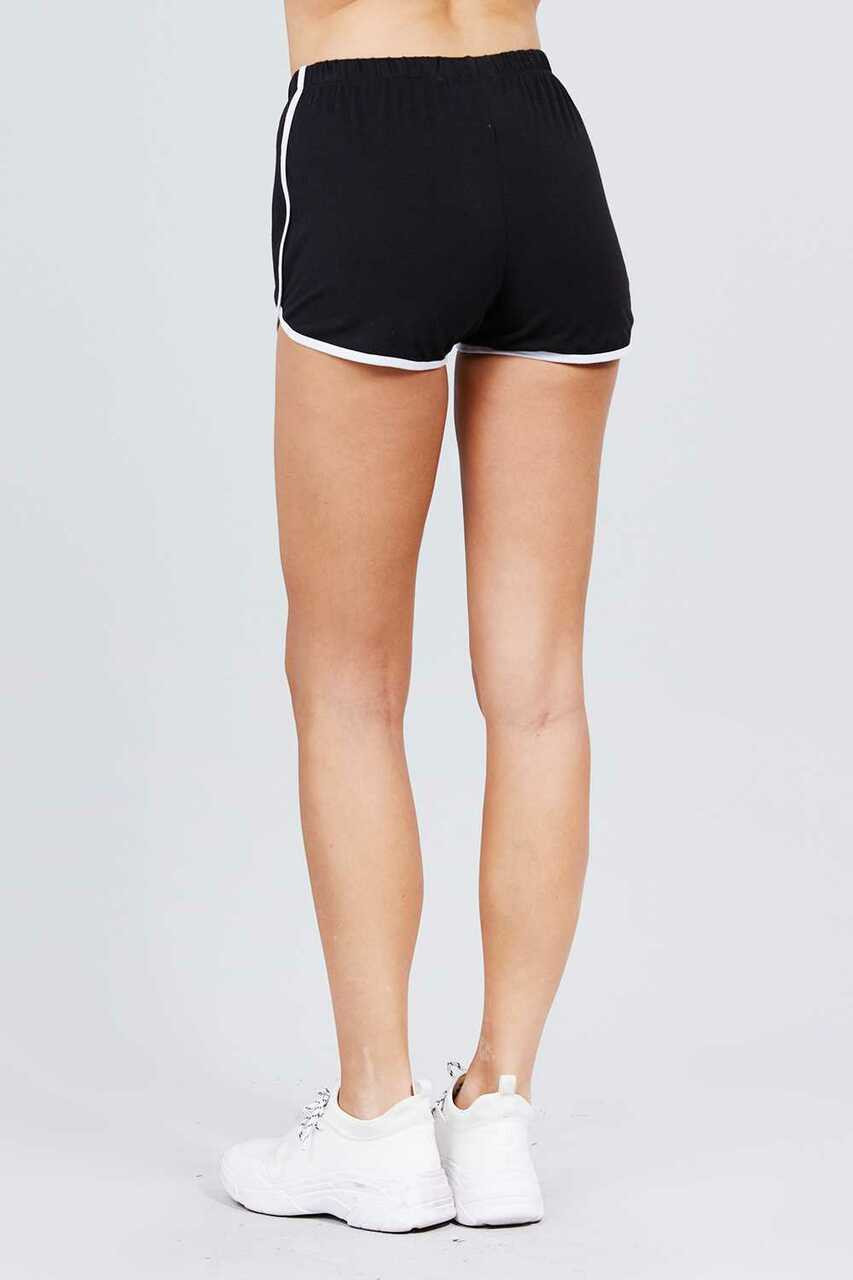 Back side of Black Basic Cotton Side Stripe Dolphin Shorts
