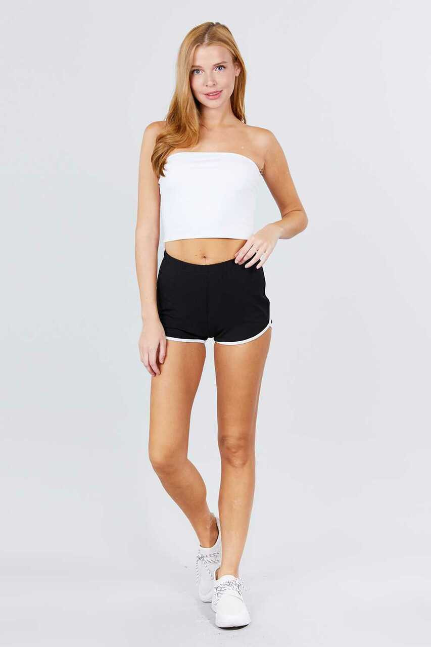 Full modeled front view of Black Basic Cotton Side Stripe Dolphin Shorts