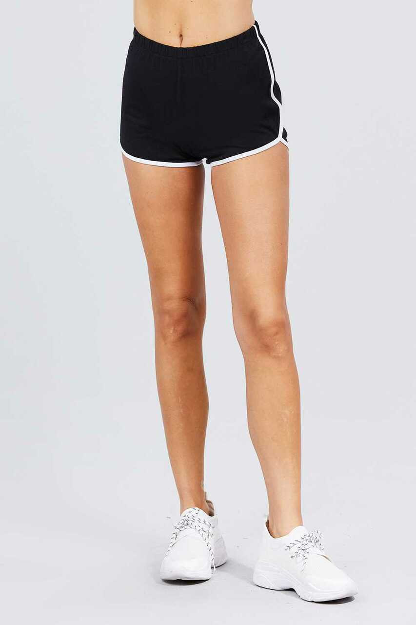 Front Side of Black Basic Cotton Side Stripe Dolphin Shorts