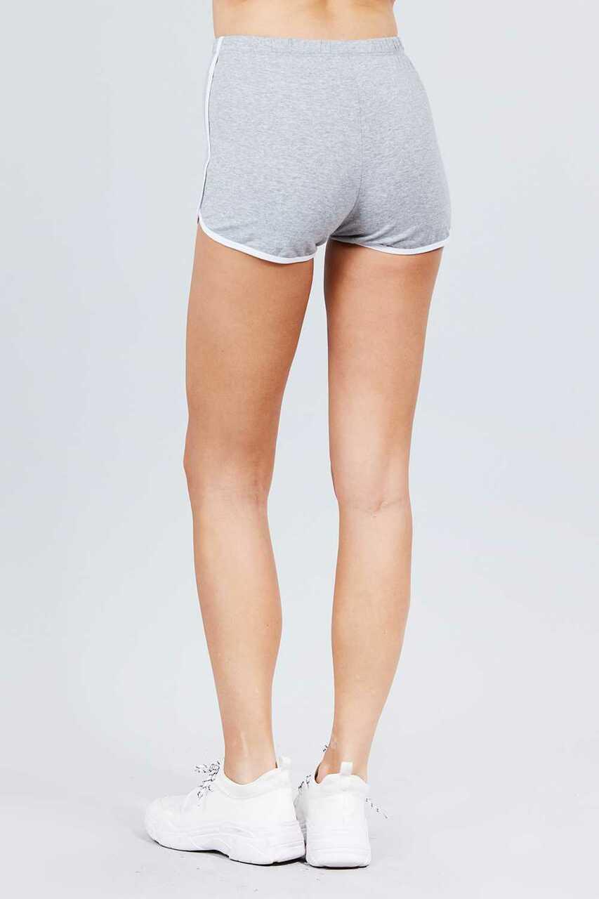 Back side of Heather Gray Basic Cotton Side Stripe Dolphin Shorts