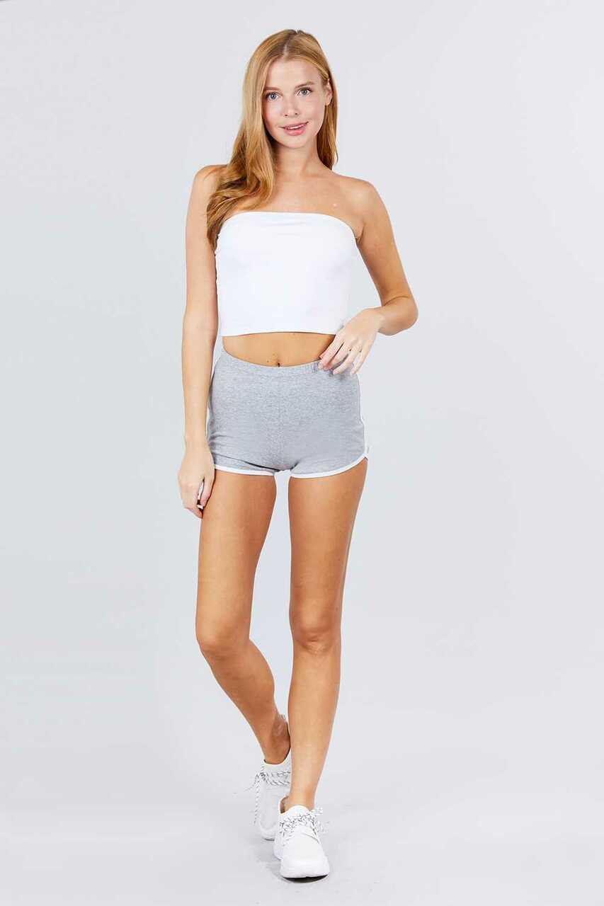 Full modeled front view of heather gray Basic Cotton Side Stripe Dolphin Shorts