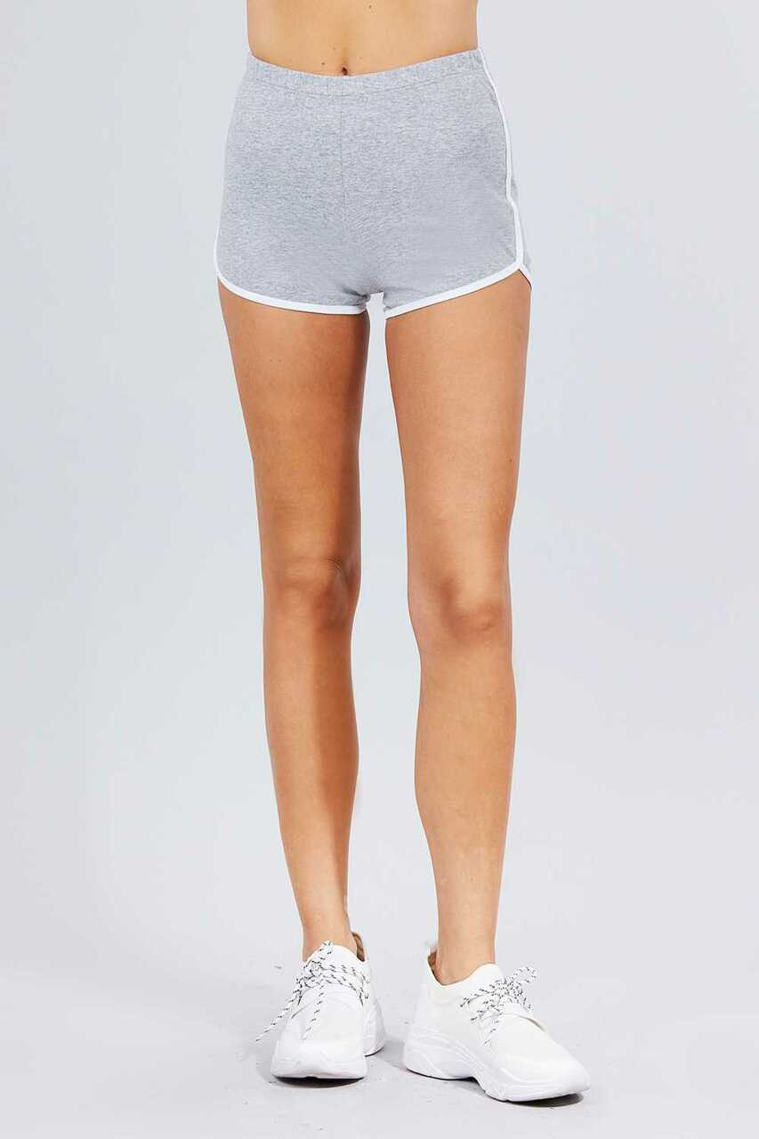 Front side of Heather Gray Basic Cotton Side Stripe Dolphin Shorts